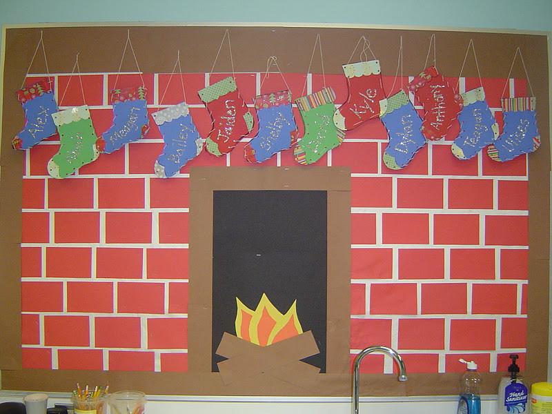Fireplace Bulletin Board Christmas  Mrs T s First Grade Class Christmas Art