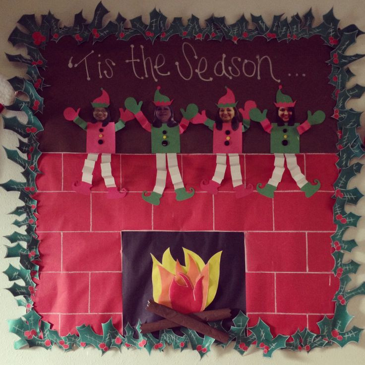 Fireplace Bulletin Board Christmas  17 Best images about Christmas bulletin boards on