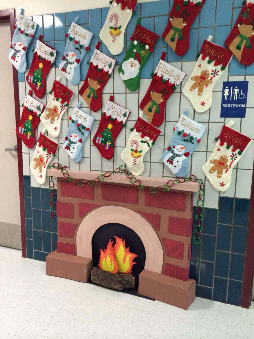 Fireplace Bulletin Board Christmas  Fireplace Classroom Door Decorations