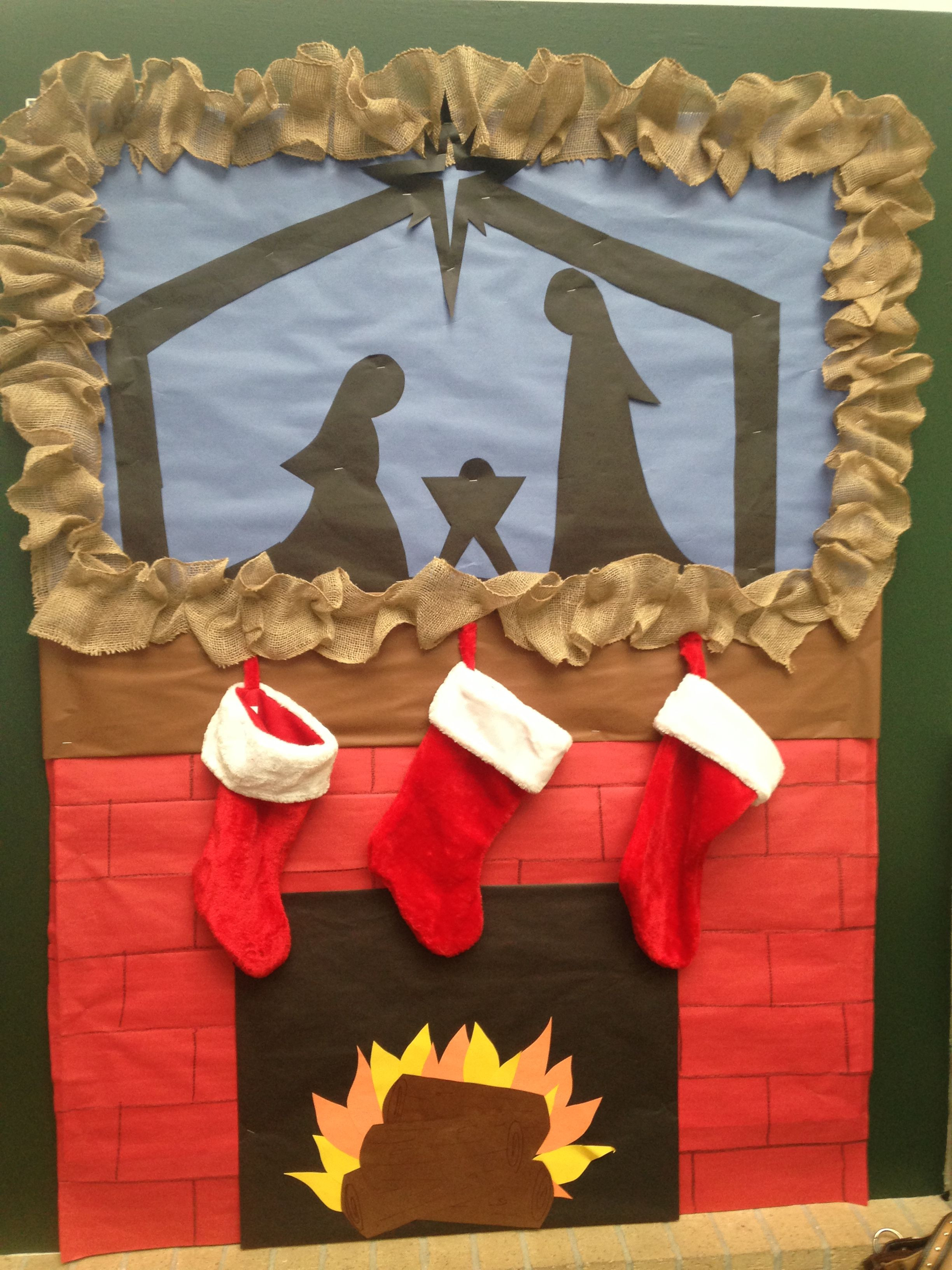 Fireplace Bulletin Board Christmas  Nativity bulletin board for Christmas plete with