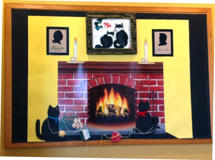 Fireplace Bulletin Board Christmas  President s Day fireplace bulletin board February 2013