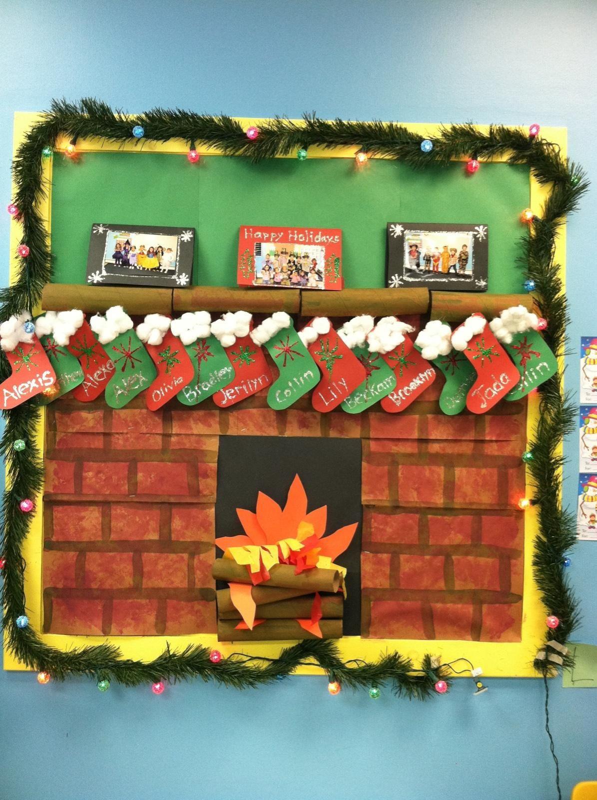 Fireplace Bulletin Board Christmas  December Christmas prek bulletin board We made the cards