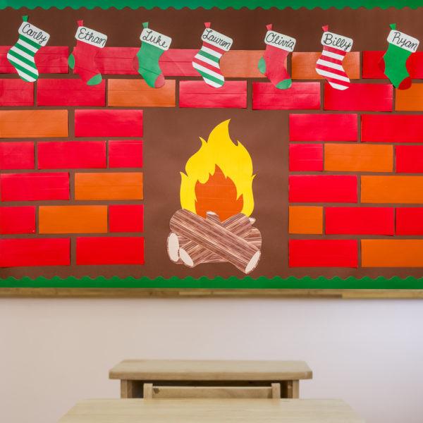 Fireplace Bulletin Board Christmas  Holiday Bulletin Board for Teachers