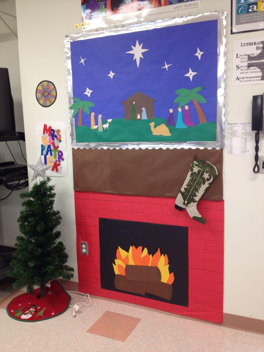 Fireplace Bulletin Board Christmas  Christmas bulletin board Fireplace on the bottom below