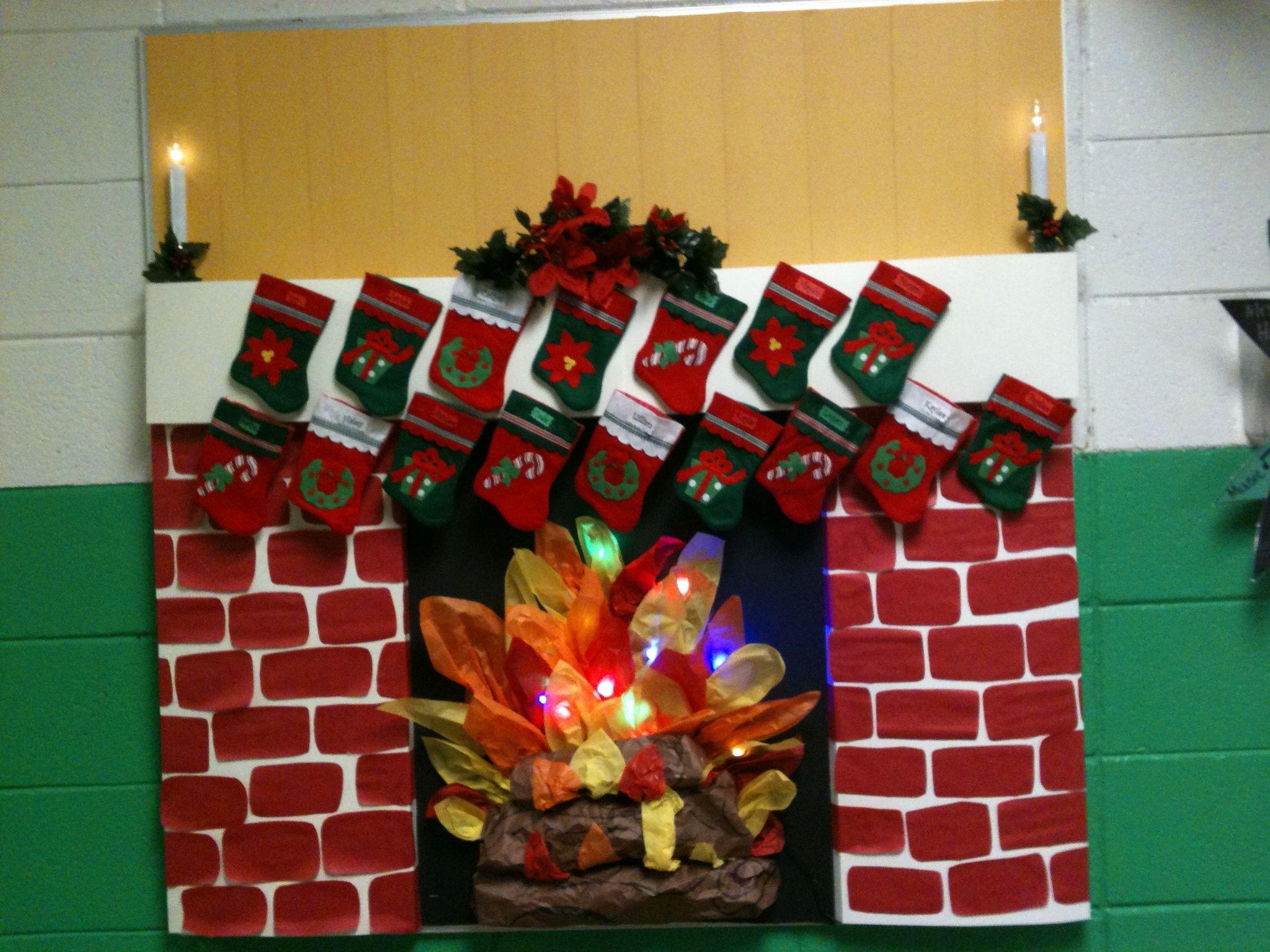 Fireplace Bulletin Board Christmas  Fireplace bulletin board bulletin boards