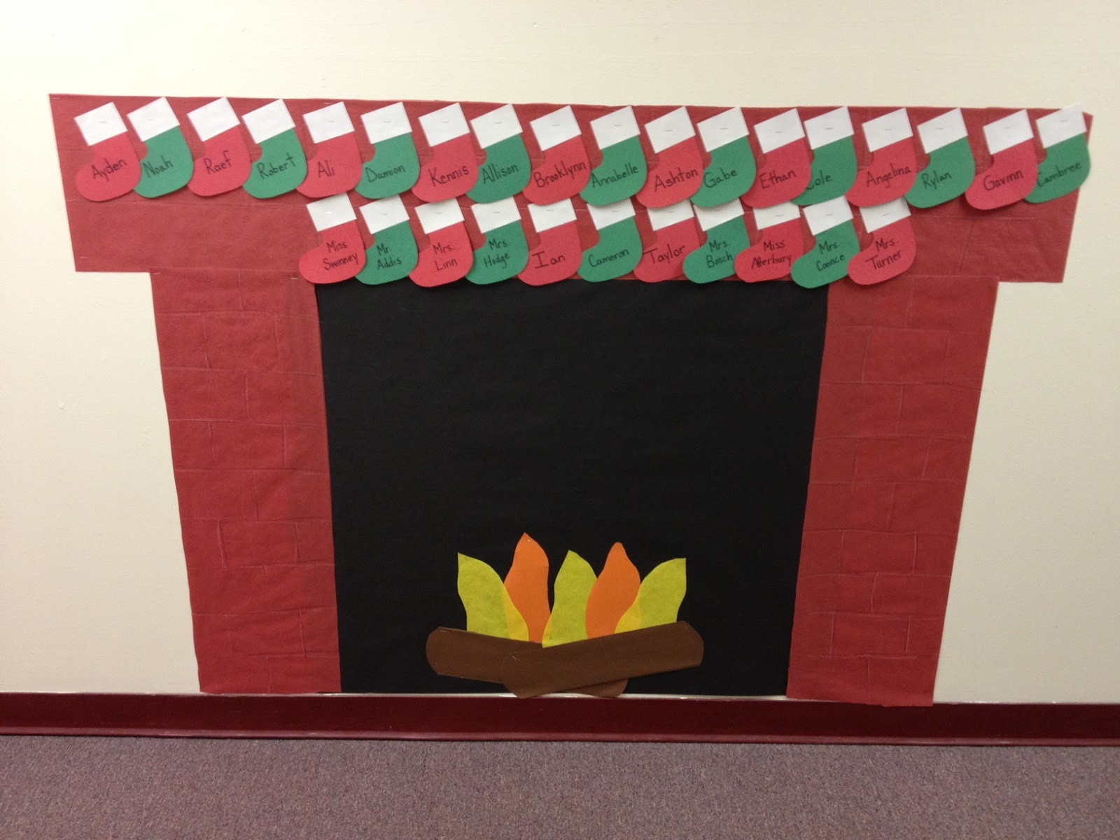 Fireplace Bulletin Board Christmas  Mrs Hodge and Her Kindergarten Kids Ornaments games and
