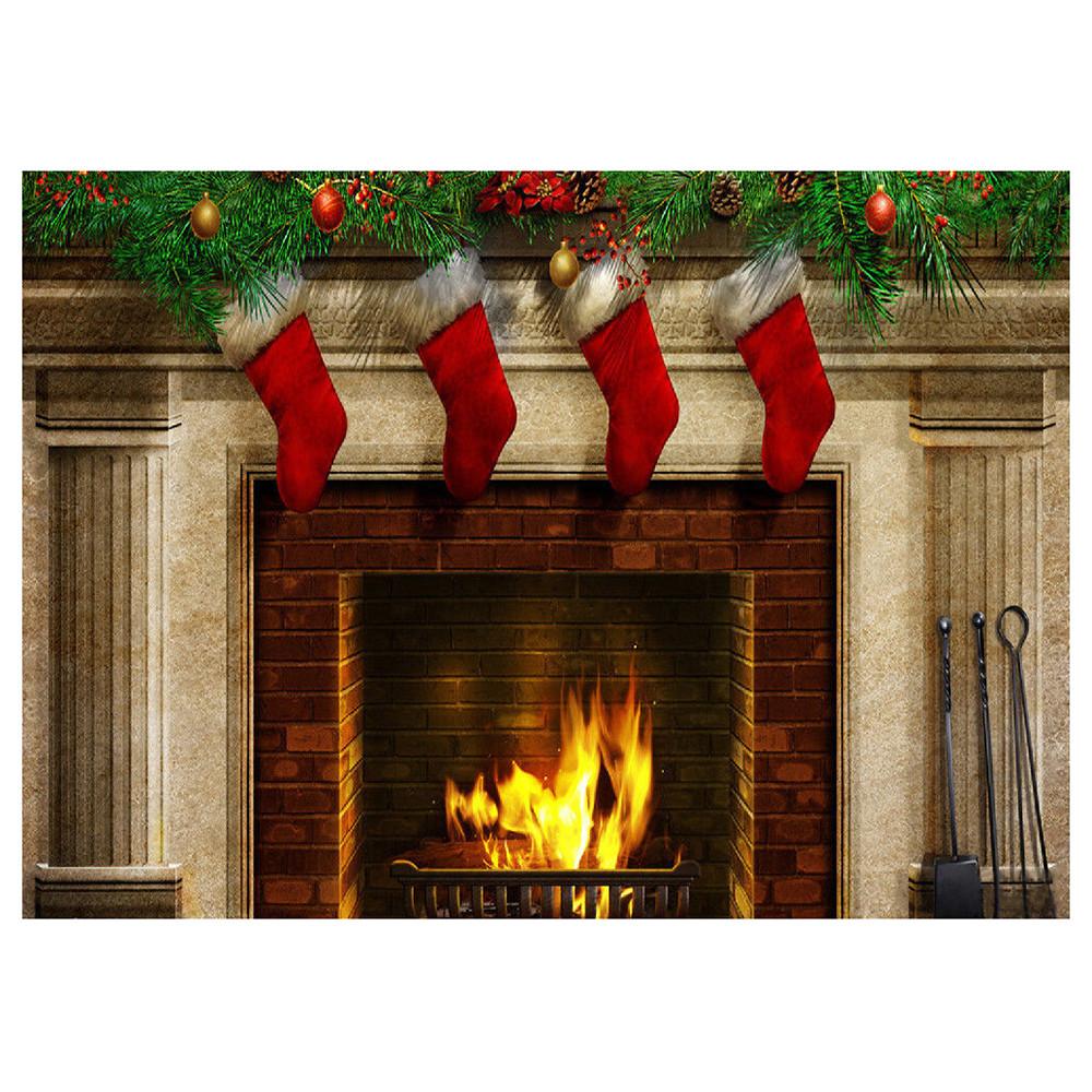 Fireplace Christmas Background  Christmas Fireplace Socks Vinyl Backdrop graphy Prop