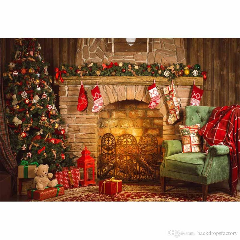 Fireplace Christmas Background  2019 Indoor Merry Christmas Fireplace Background Vintage