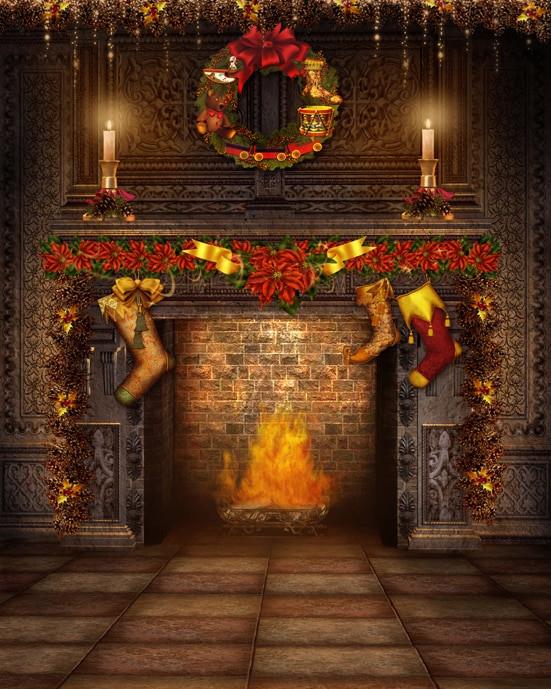 Fireplace Christmas Background  Custom vinyl cloth fireplace Christmas wreath room