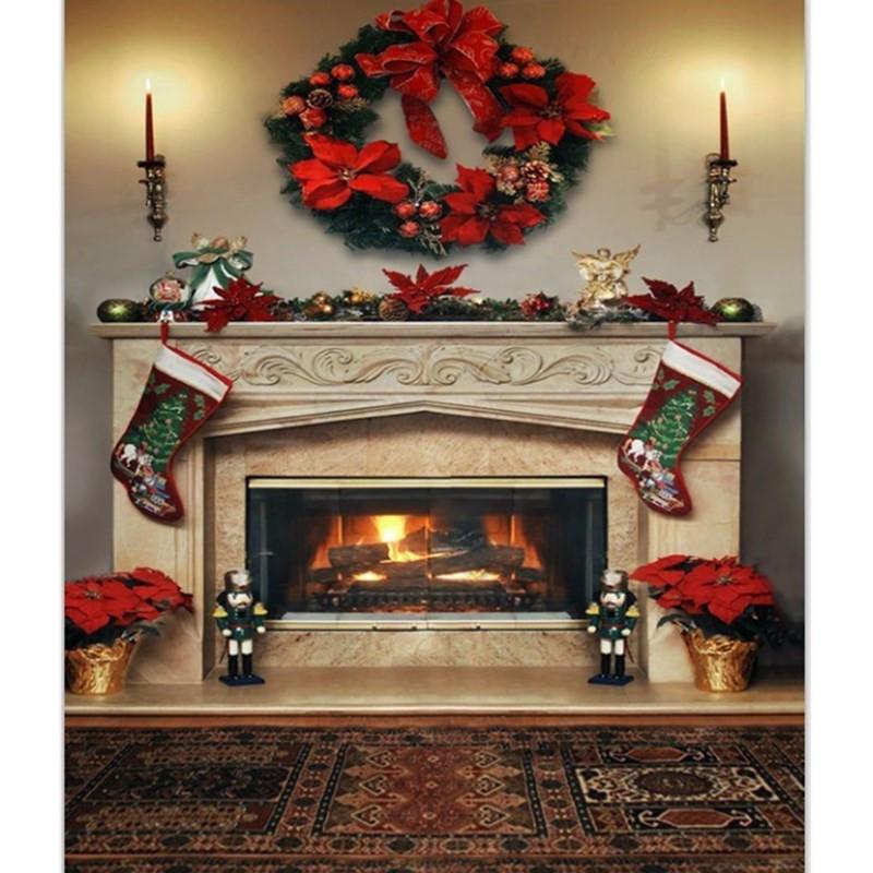 Fireplace Christmas Background  7x5ft christmas fireplace photography backdrop vinyl