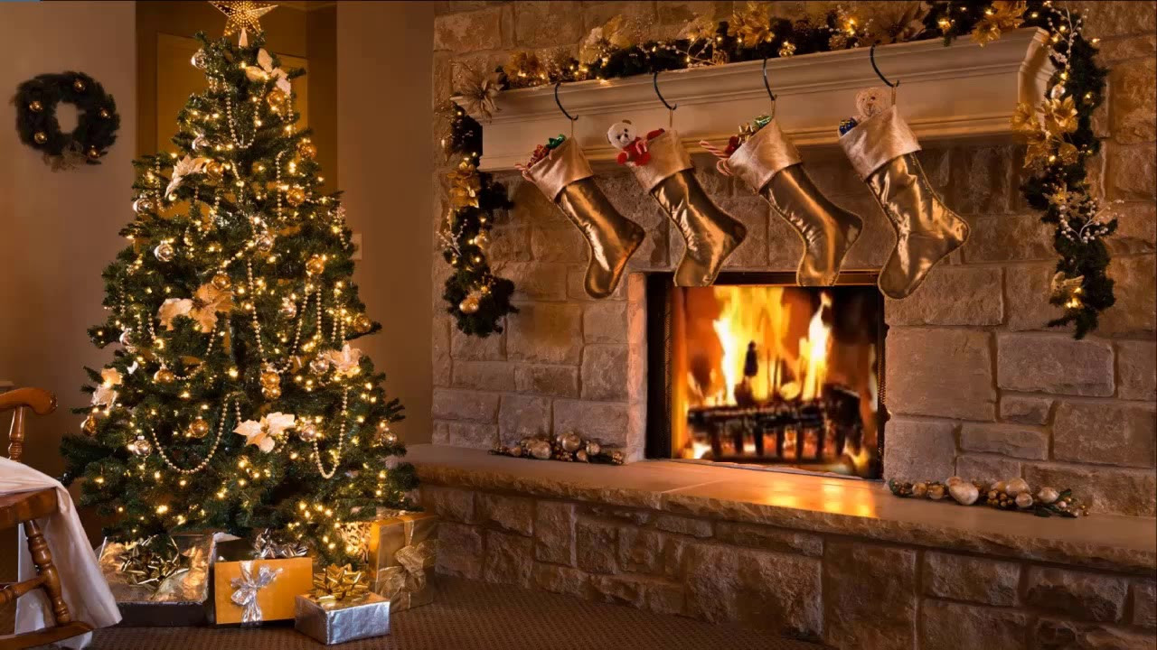 Fireplace Christmas Background  Classic Christmas Music with a Fireplace and Beautiful