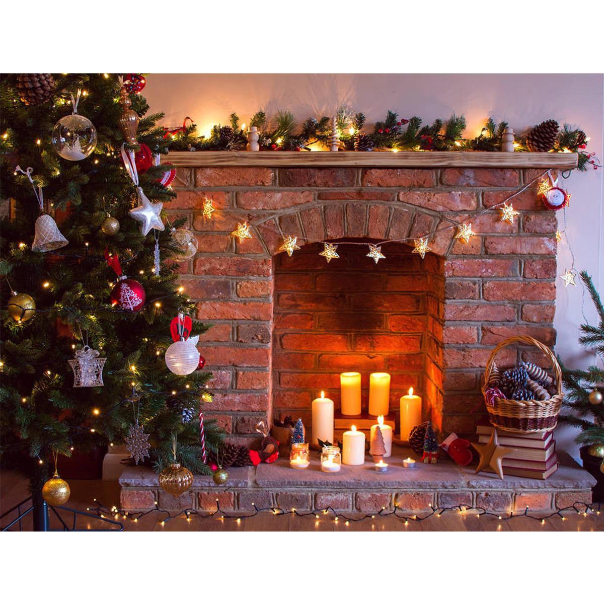 Fireplace Christmas Background  7x5ft vinyl retro christmas tree fireplace photography