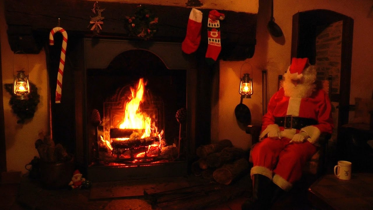 Fireplace With Christmas Music  Crackling Fireplace Scene with Santa and Relaxing
