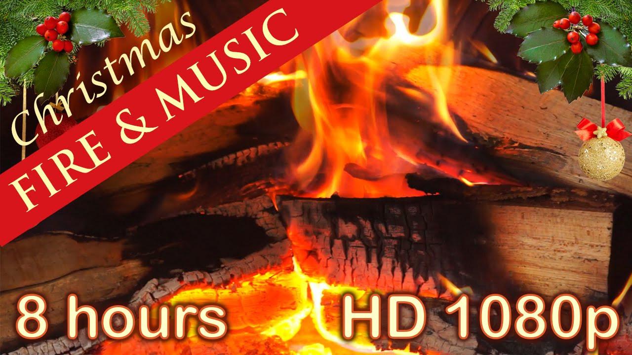 Fireplace With Christmas Music  8 HOURS ☆ CHRISTMAS MUSIC with FIREPLACE ♫ Christmas Music