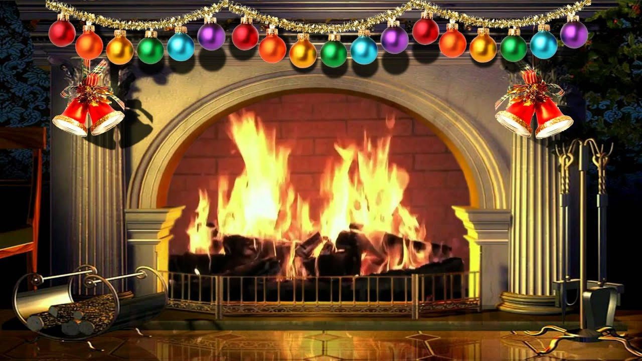 Fireplace With Christmas Music  Virtual Christmas Fireplace With Music Free video 1080p