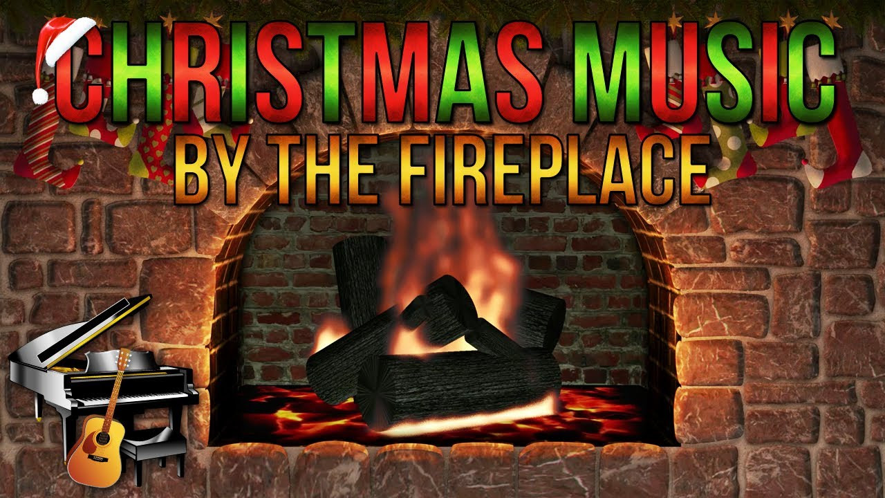 Fireplace With Christmas Music  Christmas Music with Yule Log Fireplace Guitar & Piano