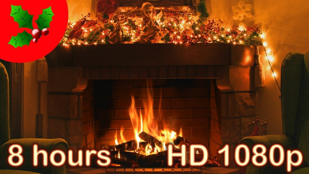 Fireplace With Christmas Music  8 HOURS ☆ CHRISTMAS MUSIC FIREPLACE ♫ Solo PIANO
