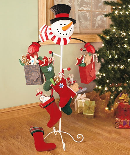 Floor Christmas Stocking Holder  Love this alternate way of hanging stockings or even