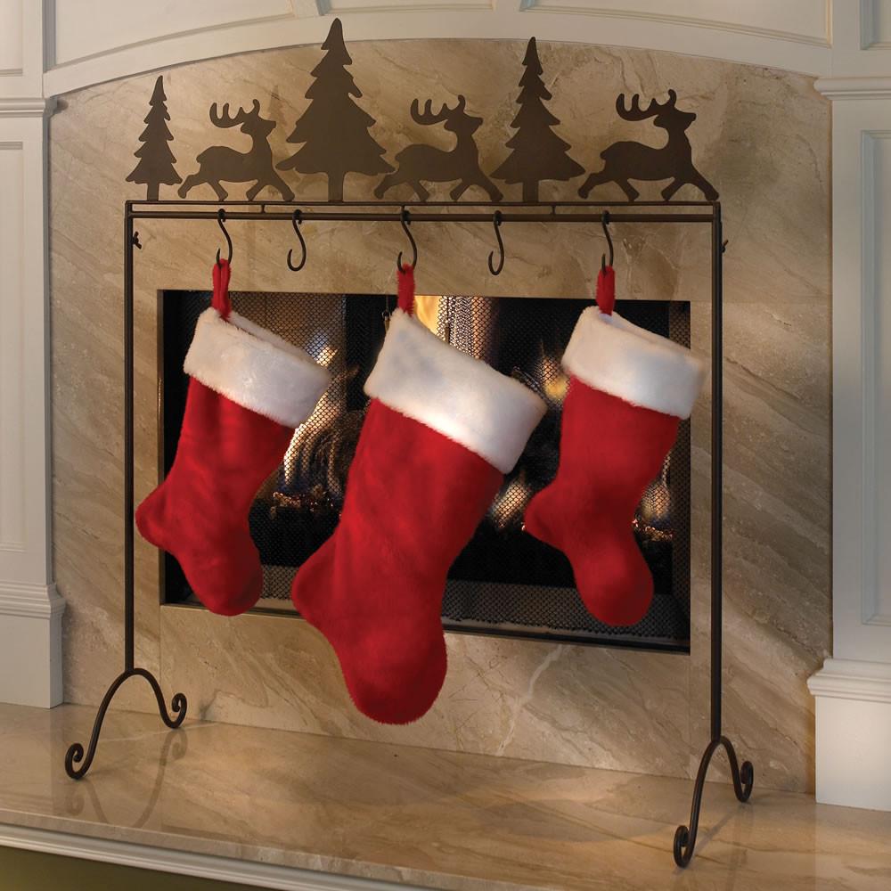 Floor Christmas Stocking Stands  The Portable Stocking Holder Hammacher Schlemmer