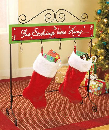 Floor Christmas Stocking Stands  Christmas Stocking Floor Stand Metal Wood Holder Table