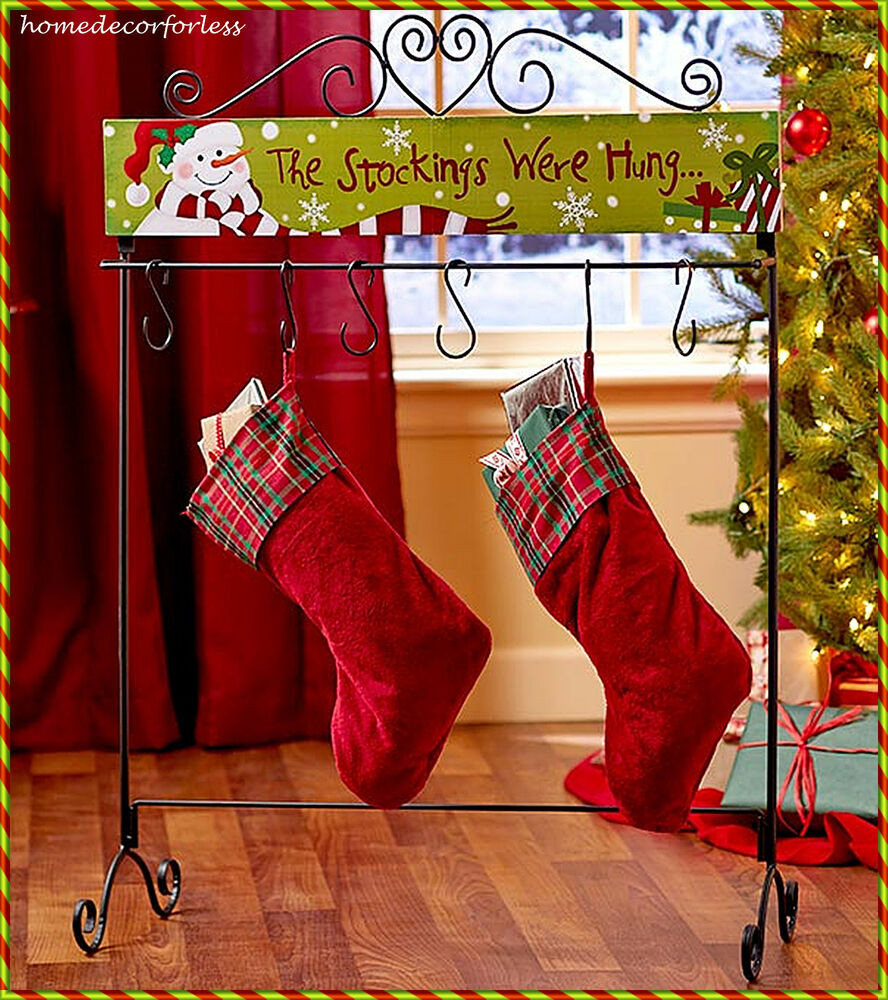 Floor Christmas Stocking Stands New Snowman 6 Stocking Holder Hanger Floor Stand Holiday