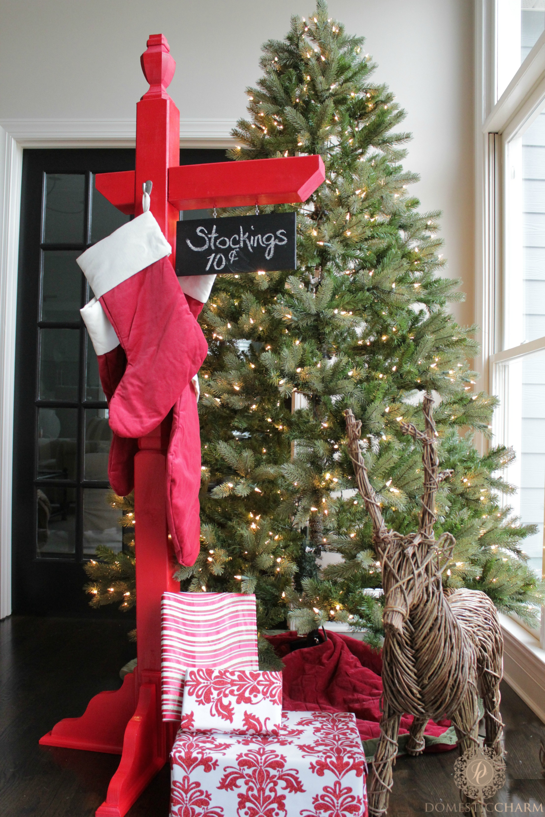 Floor Christmas Stocking Stands  DIY Stocking Holder with The Home Depot Domestic Charm