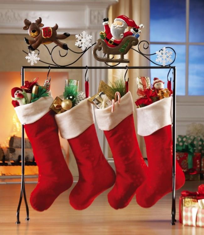 Floor Christmas Stocking Stands  Santa & Reindeer Floor Stocking Holder – Christmas