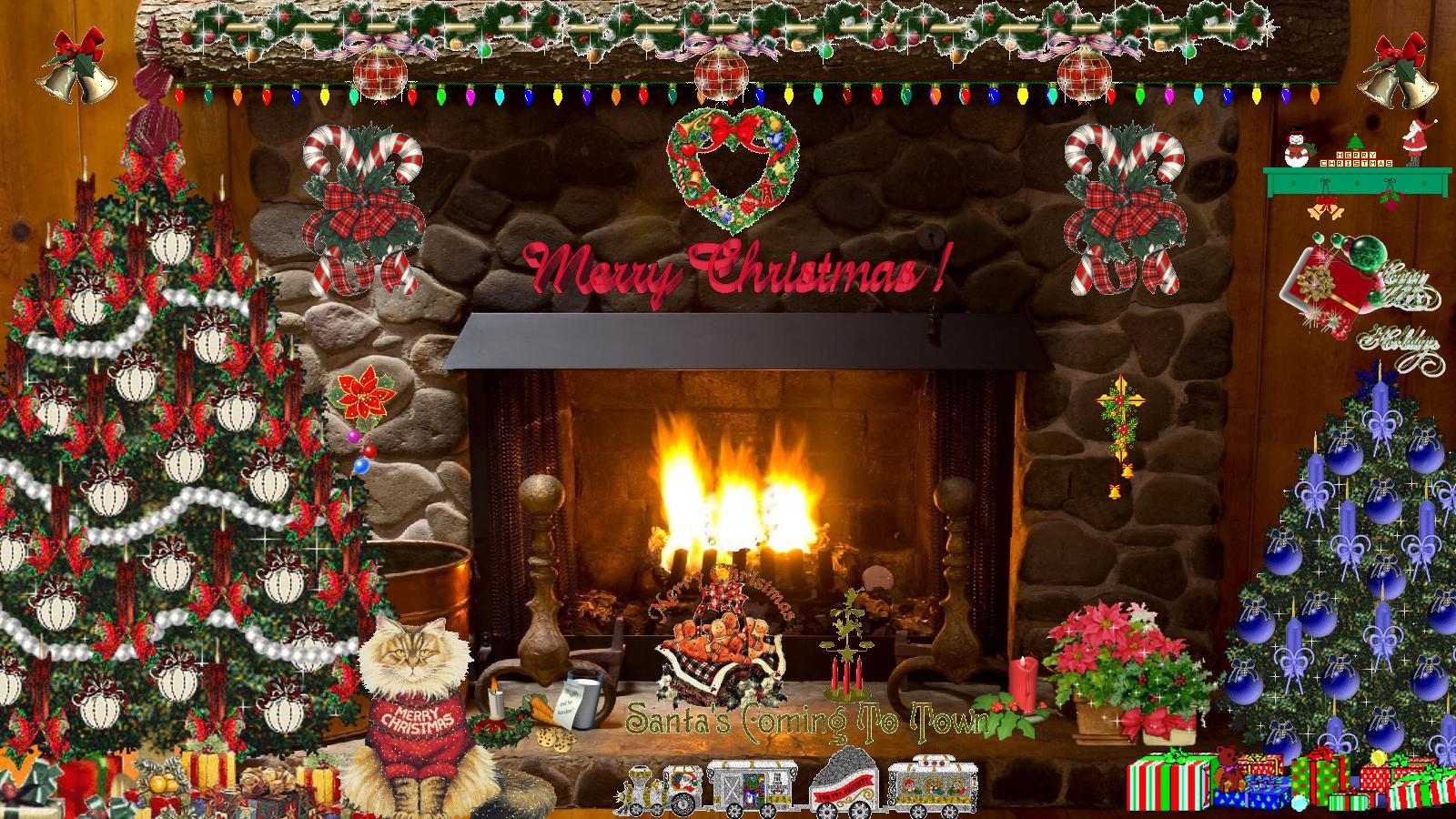 Free Christmas Fireplace Screensaver  Christmas Fireplace Wallpaper Animated WallpaperSafari