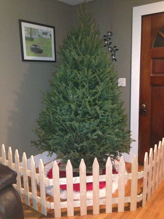 Gate For Christmas Tree  Handmade fence Dog proofing Christmas tree saving
