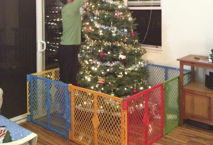 Gate For Christmas Tree  Toddler vs Christmas Tree