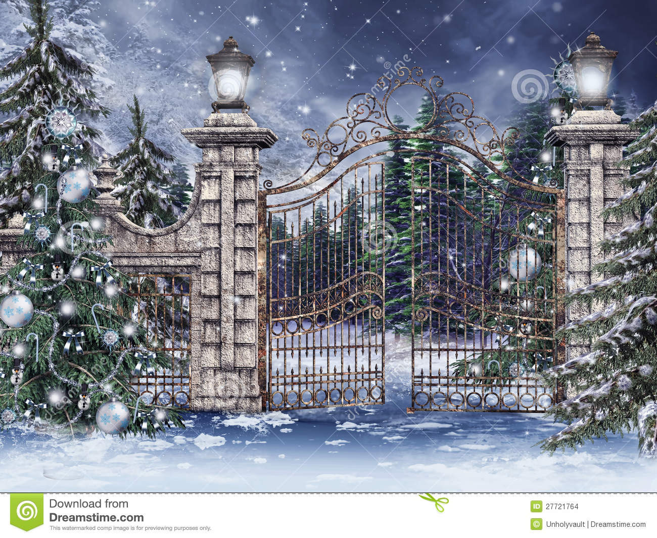 Gate For Christmas Tree  Vintage Gate With Christmas Trees Stock Illustration