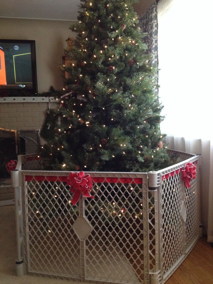 Gate For Christmas Tree  How to make the baby gate around the Christmas Tree less