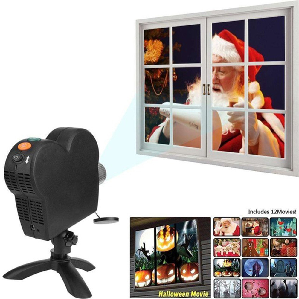 Indoor Christmas Projector  12 Movies Mini Christmas Halloween Window Home Theater