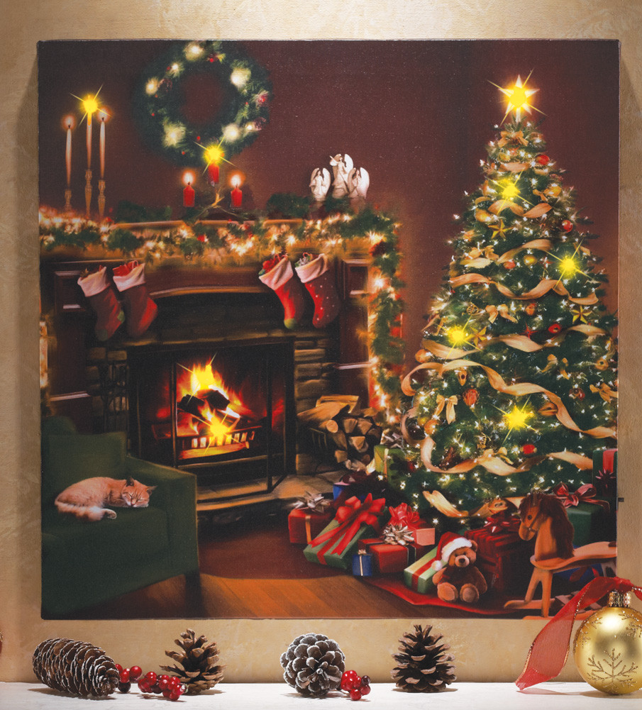 Lighted Christmas Wall Art Lovely Flickering Led Lighted Christmas Eve Scene W Cat Canvas