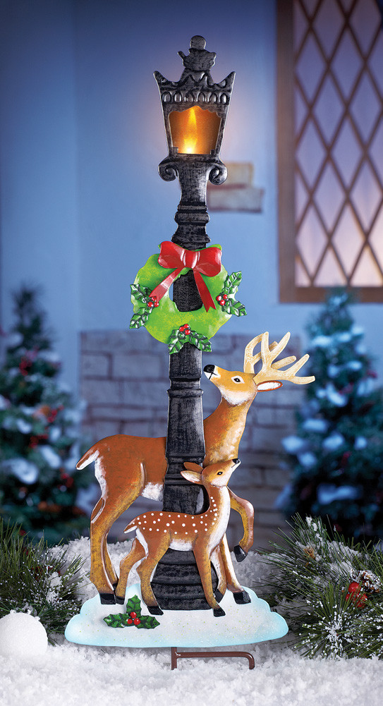 Lighted Outdoor Christmas Lamp Post  Lighted Holiday Deer Lamp Post Stake by Collections Etc