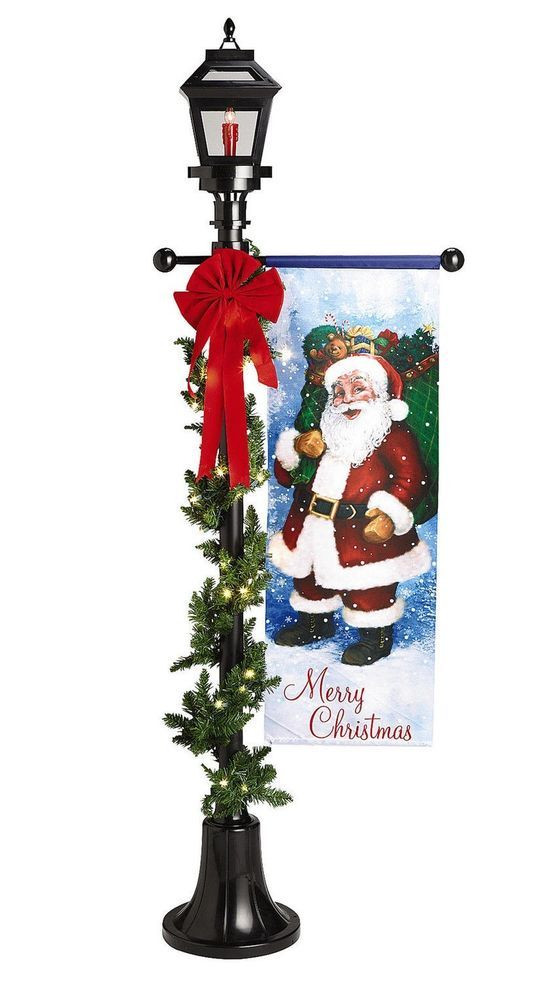 Lighted Outdoor Christmas Lamp Post  NEW 6 LIGHTED CHRISTMAS LAMP POST FLAME BANNER GARLAND