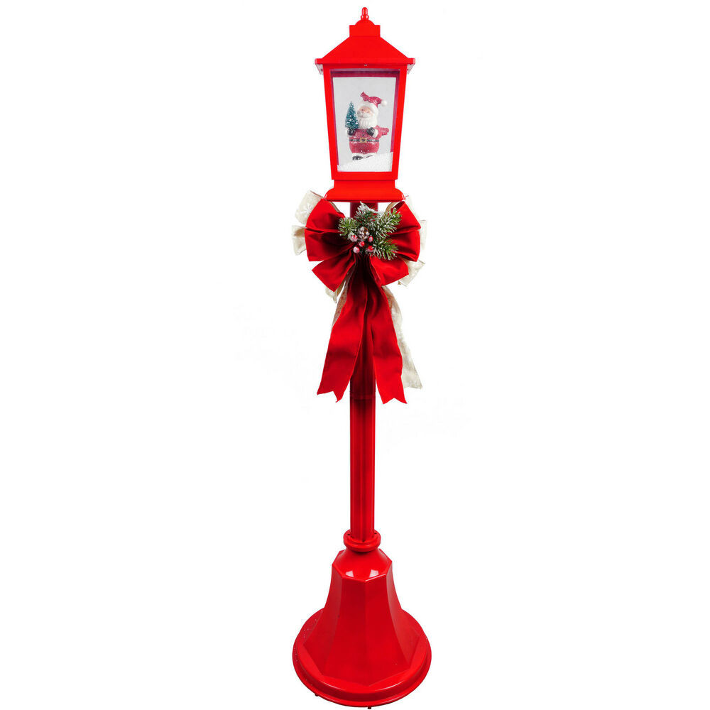 Lighted Outdoor Christmas Lamp Post  Christmas Lamp Posts With Snow Blowing Scenes & Music