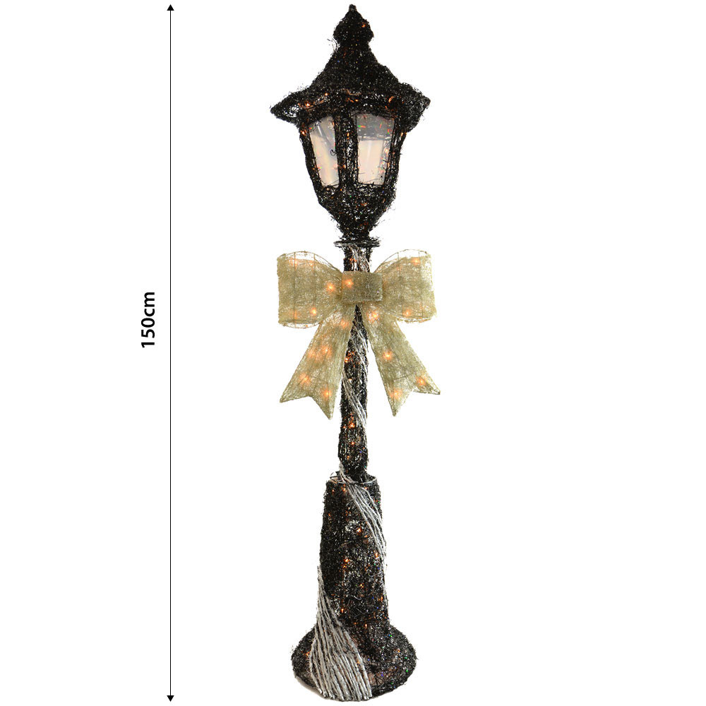 Lighted Outdoor Christmas Lamp Post  150cm Light Up Black & Silver Lamp Post Outdoor Christmas