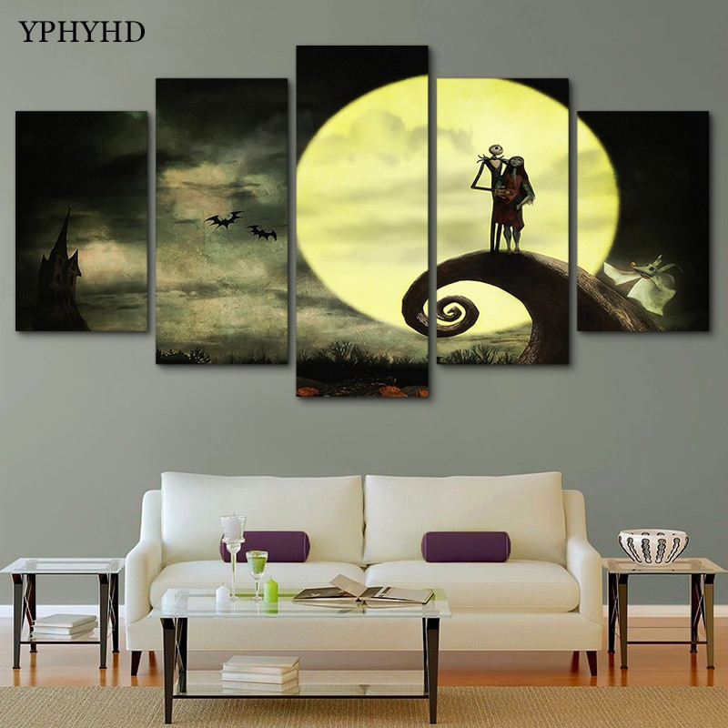 Nightmare Before Christmas Wall Decor  YPHYHD Canvas Modern HD Print Moon Wall Art 5