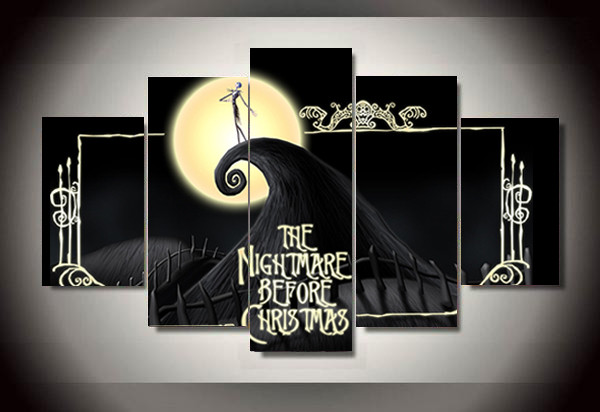 Nightmare Before Christmas Wall Decor  Unframed Printed the nightmare before christmas 5 piece