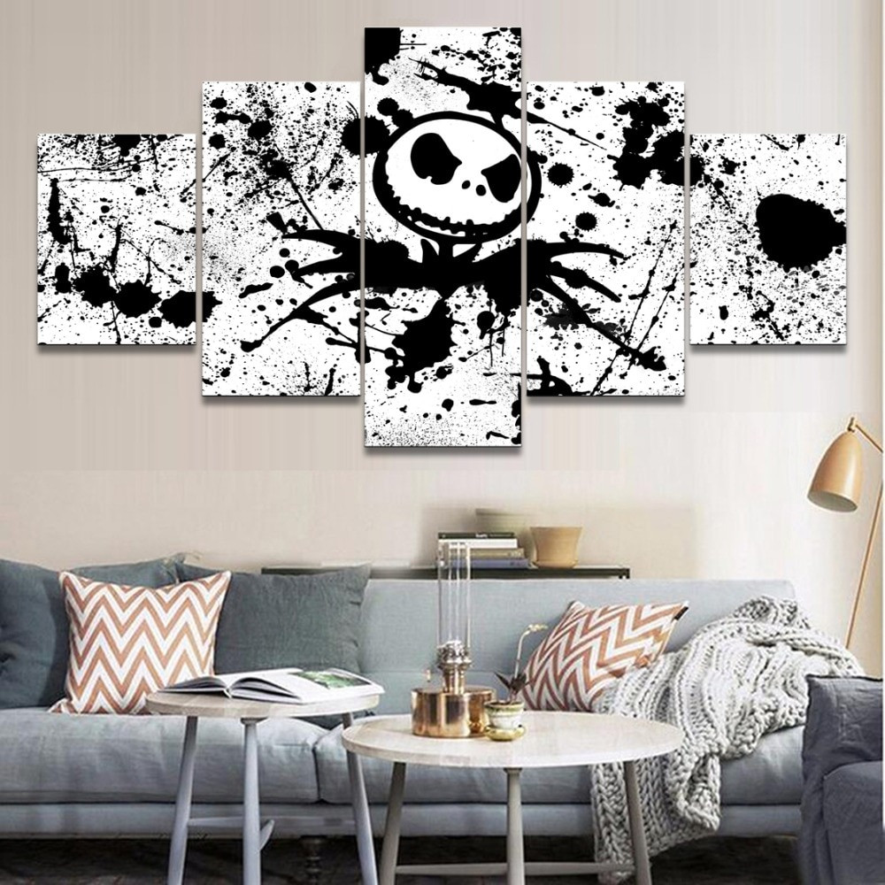 Nightmare Before Christmas Wall Decor  5 Pieces Modern Home Decor Movie The Nightmare Before