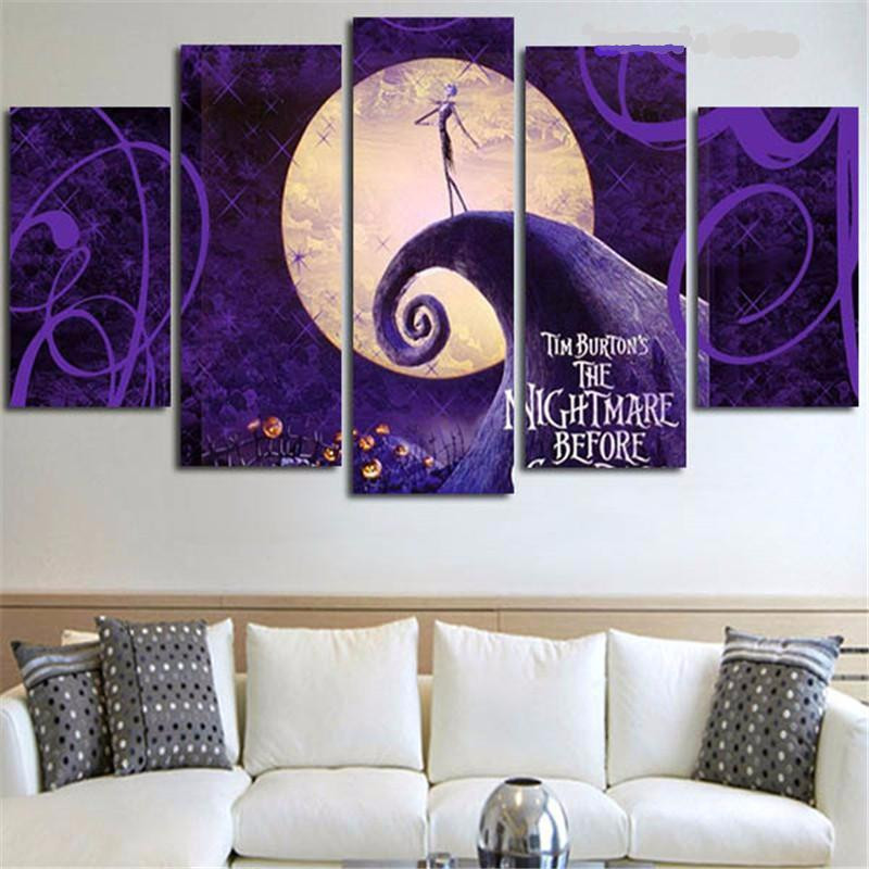 Nightmare Before Christmas Wall Decor  Nightmare Before Christmas Painting Modular Canvas Wall