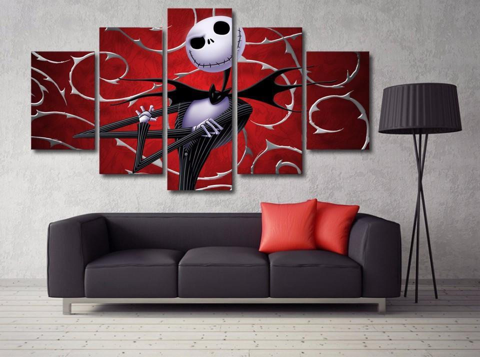 Nightmare Before Christmas Wall Decor  Nightmare Before Christmas 5 – Abstract 5 Panel Canvas Art