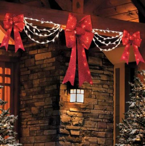 Outdoor Christmas Decorations Clearance  CLEARANCE Outdoor Lighted Porch Eave CHRISTMAS BOW & SWAG