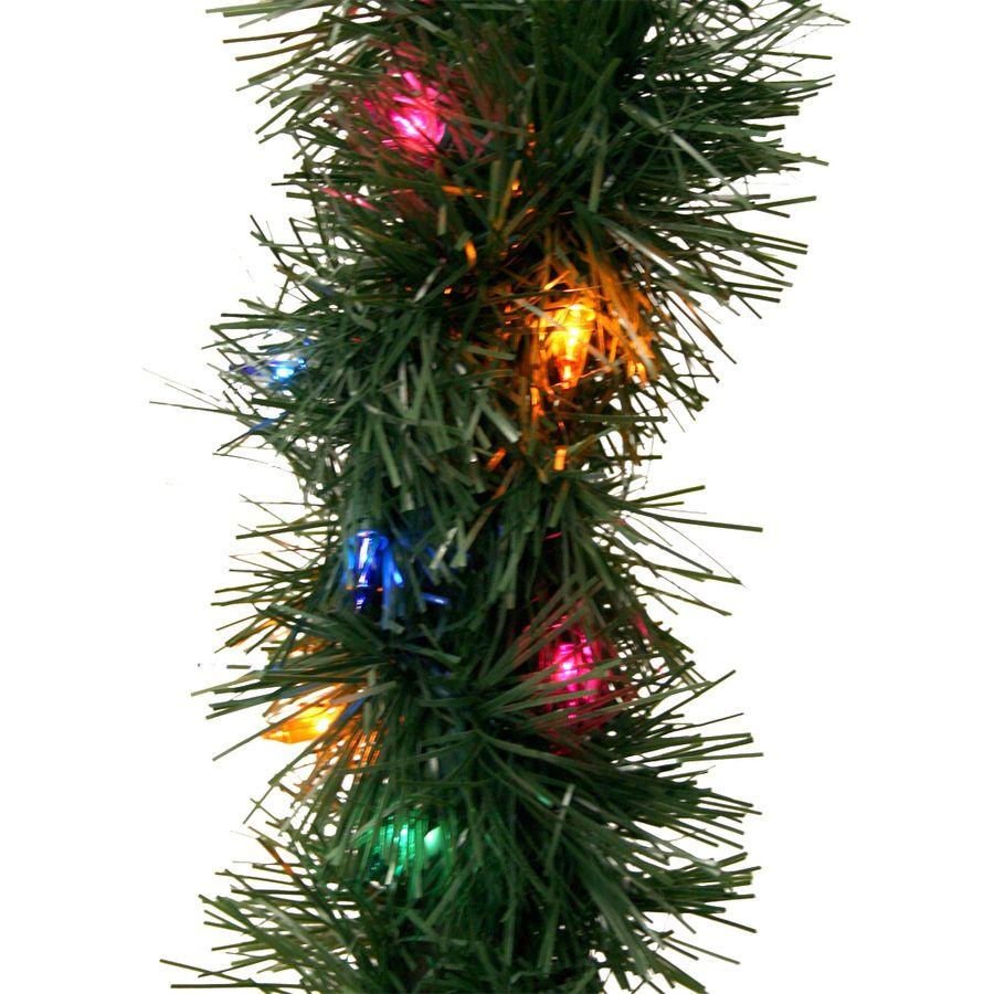 Outdoor Christmas Garland With Lights  Shop GE 45 ft Pre Lit Indoor Outdoor Pine Artificial