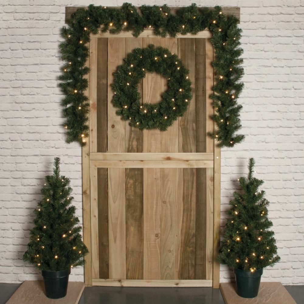 Outdoor Christmas Garland With Lights  SET OF 4 LED DOOR CHRISTMAS TREE GARLAND WREATH DECORATION