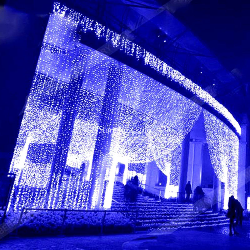 Outdoor Christmas Garland With Lights  8x4m LED Curtain Icicle String Fairy Lights Holiday