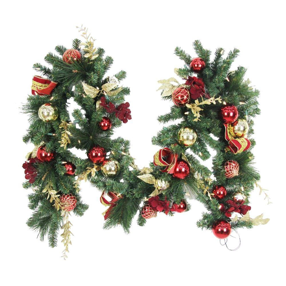 Outdoor Christmas Garland With Lights  9 ft Battery Operated Plaza Artificial Garland with 50