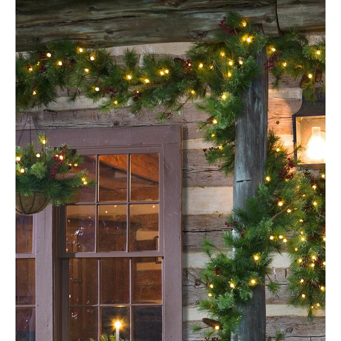 Outdoor Christmas Garland With Lights  Plow & Hearth Lighted Outdoor Battery Operated Holiday