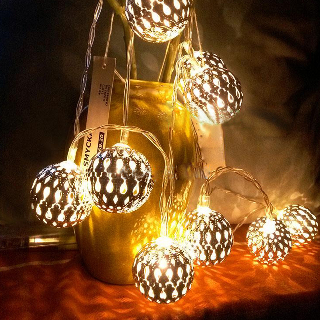 Outdoor Christmas Garland With Lights  10 20 LEDs Iron Ball String Lights Fairy Lights Outdoor